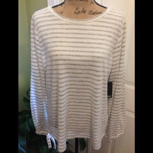 NWT a.n.a Cream and Gray Striped Long Sleeve Top